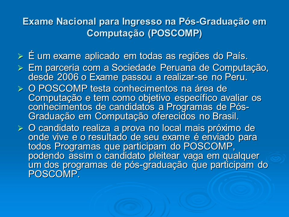 Exame Nacional para Ingresso na Pós-Graduação em Computação (POSCOMP)