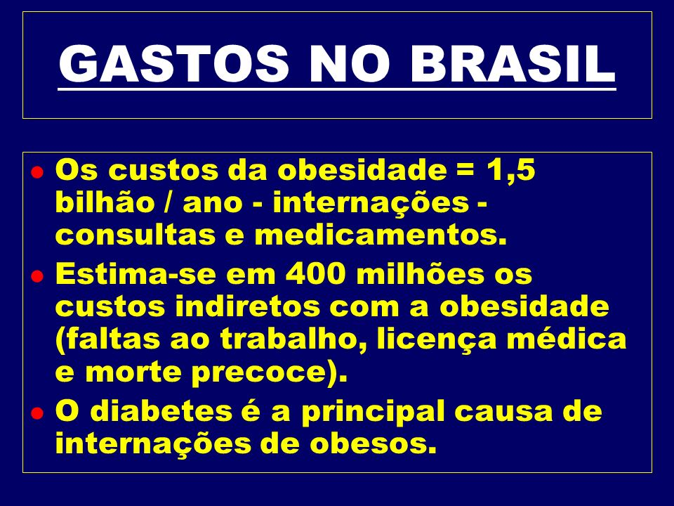 GASTOS NO BRASIL Os custos da obesidade = 1,5 bilhão / ano - internações - consultas e medicamentos.