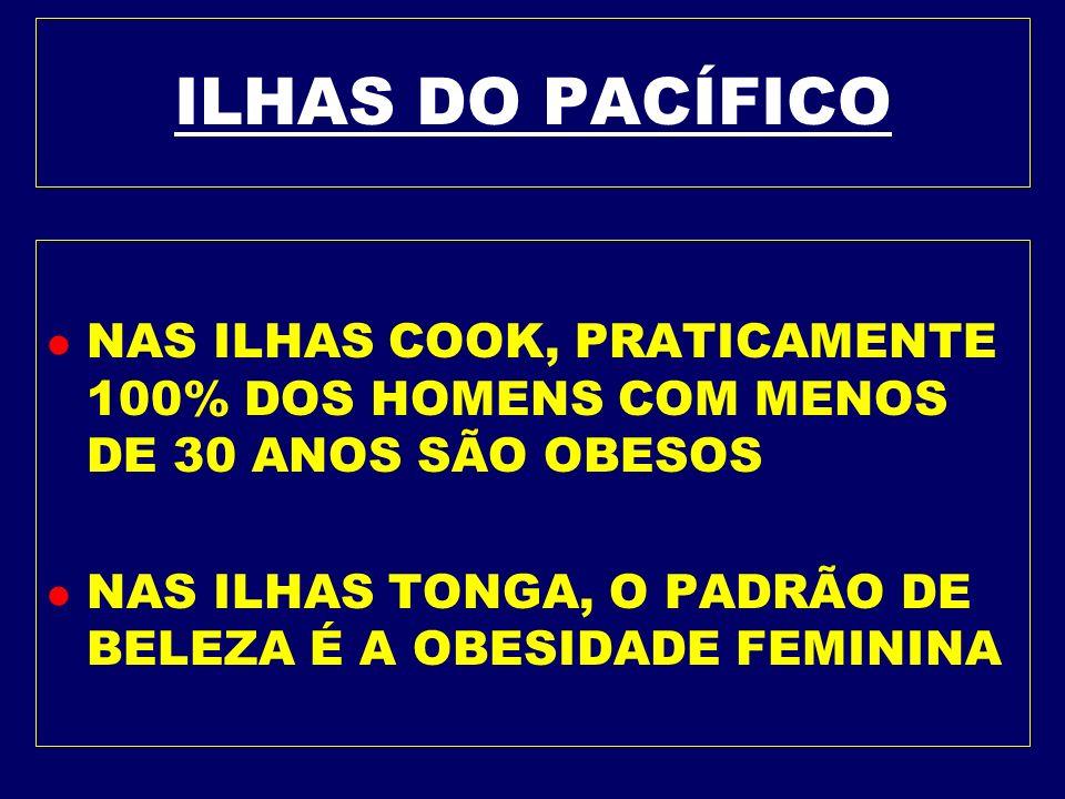 ILHAS DO PACÍFICO NAS ILHAS COOK, PRATICAMENTE 100% DOS HOMENS COM MENOS DE 30 ANOS SÃO OBESOS.
