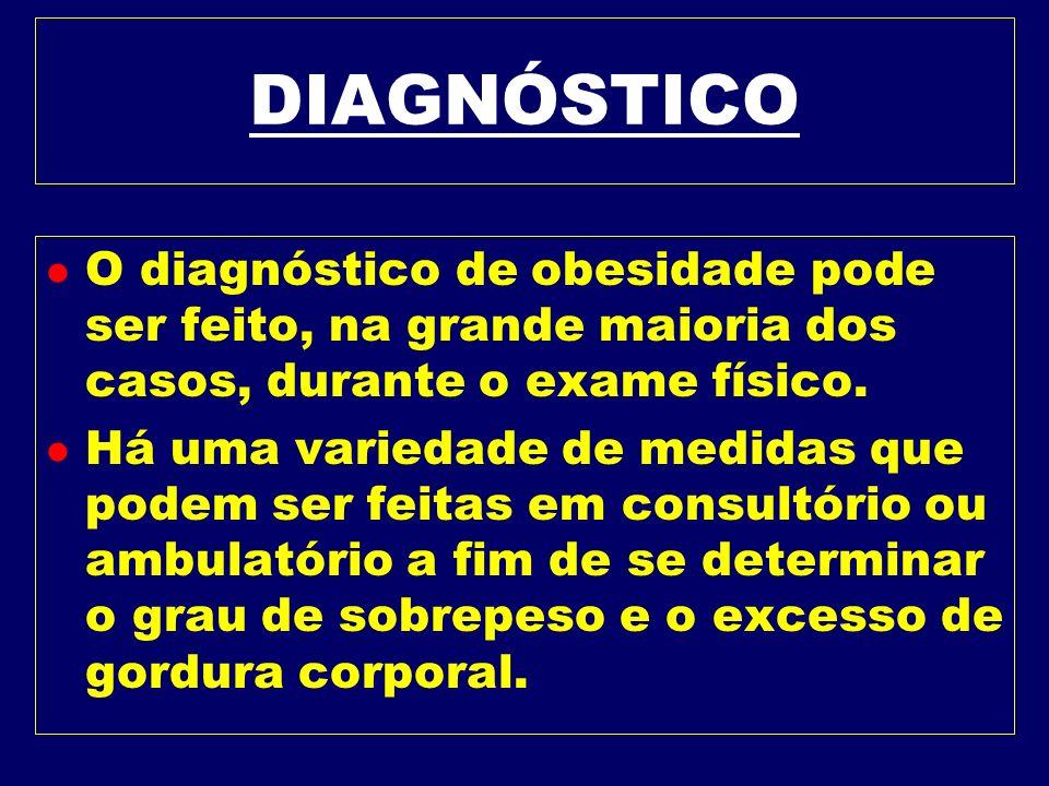 DIAGNÓSTICOO diagnóstico de obesidade pode ser feito, na grande maioria dos casos, durante o exame físico.