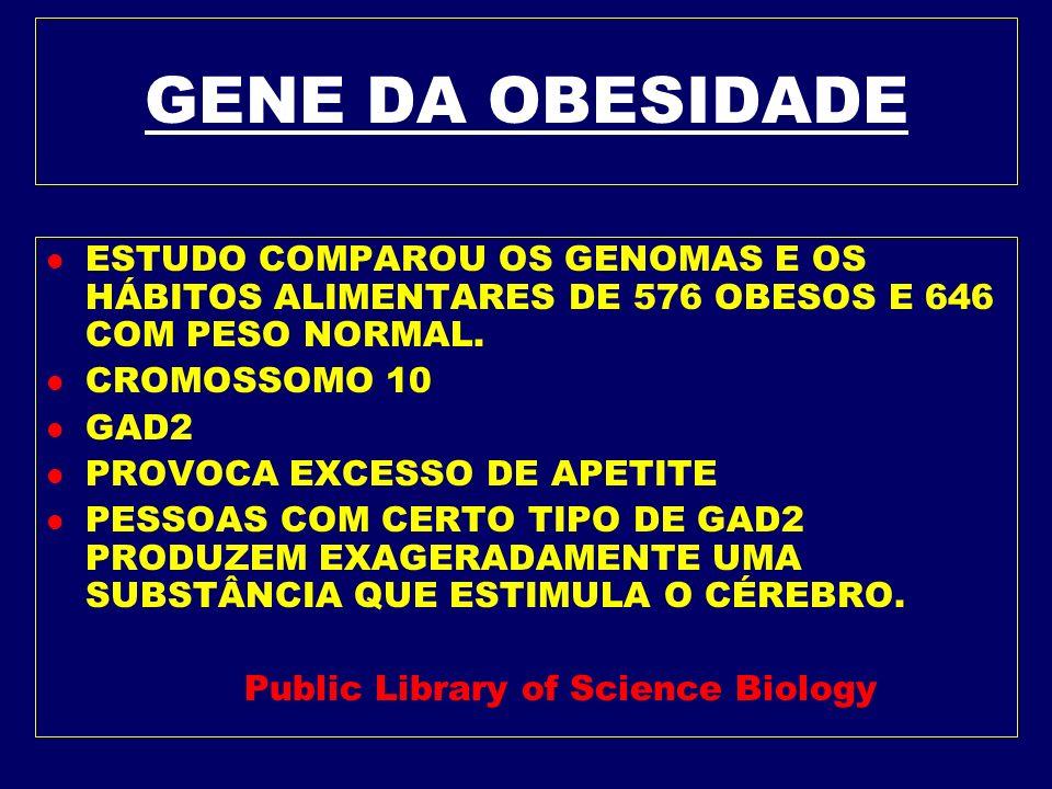 GENE DA OBESIDADE ESTUDO COMPAROU OS GENOMAS E OS HÁBITOS ALIMENTARES DE 576 OBESOS E 646 COM PESO NORMAL.