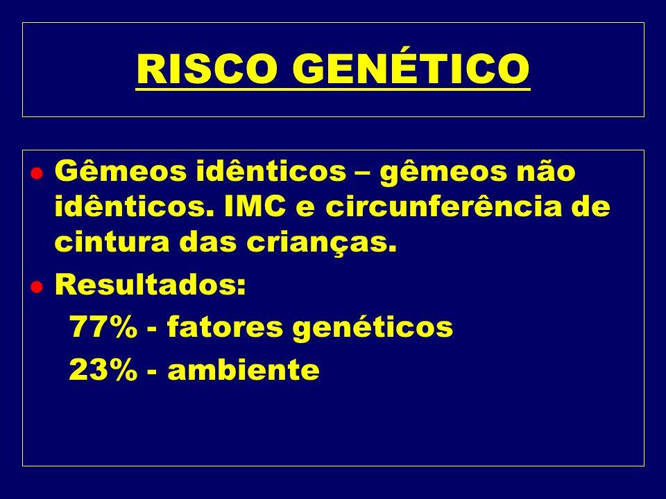 RISCO GENÉTICO Gêmeos idênticos – gêmeos não idênticos. IMC e circunferência de cintura das crianças.