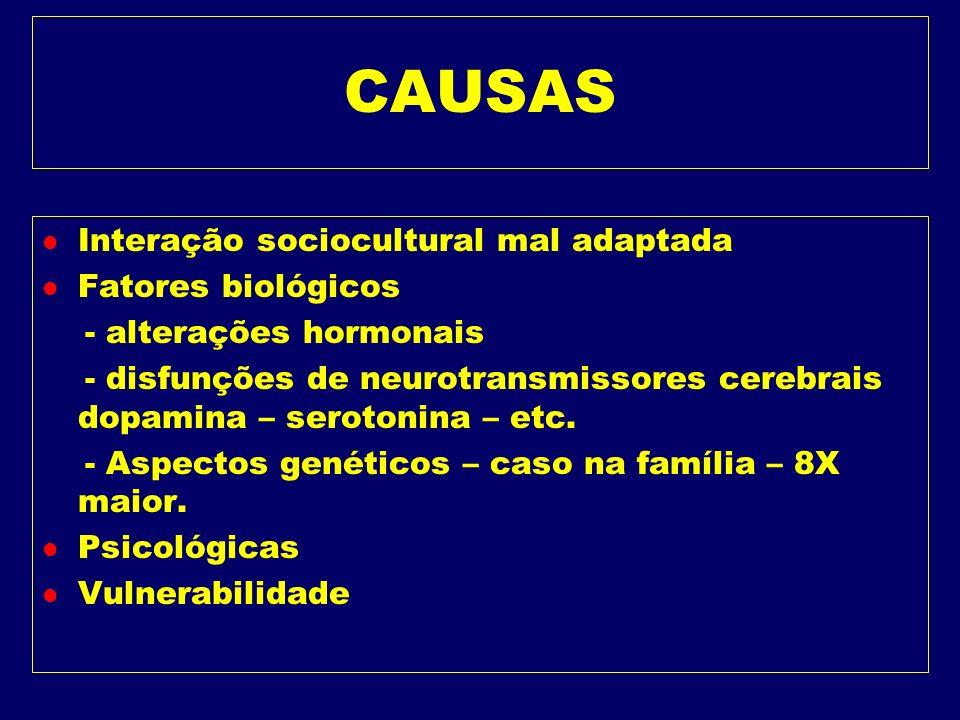 CAUSAS Interação sociocultural mal adaptada Fatores biológicos