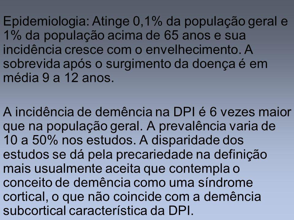 Epidemiologia: Atinge 0,1% da população geral e 1% da população acima de 65 anos e sua incidência cresce com o envelhecimento. A sobrevida após o surgimento da doença é em média 9 a 12 anos.