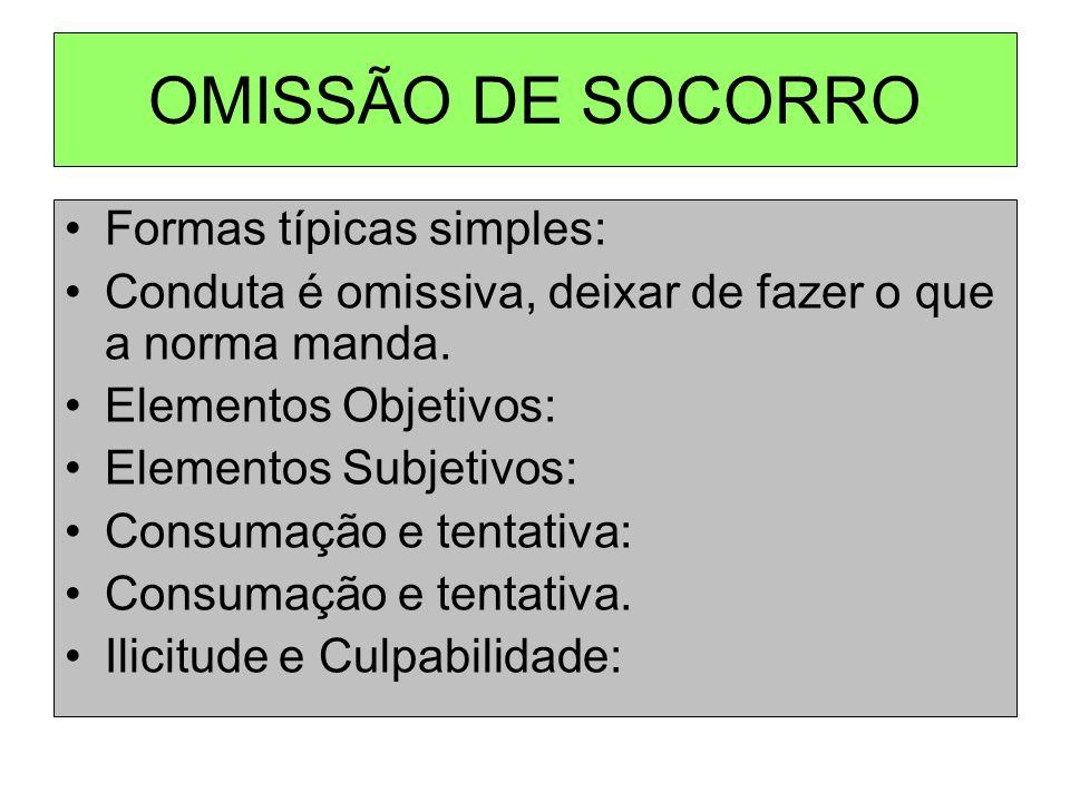 OMISSÃO DE SOCORRO Formas típicas simples: