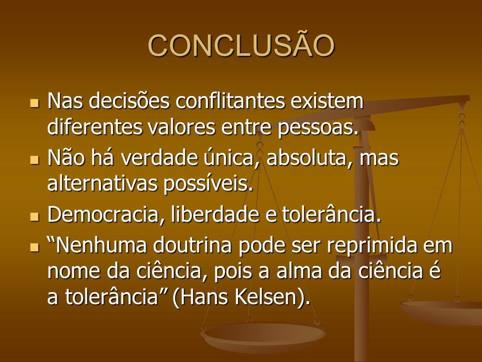 CONCLUSÃO Nas decisões conflitantes existem diferentes valores entre pessoas. Não há verdade única, absoluta, mas alternativas possíveis.
