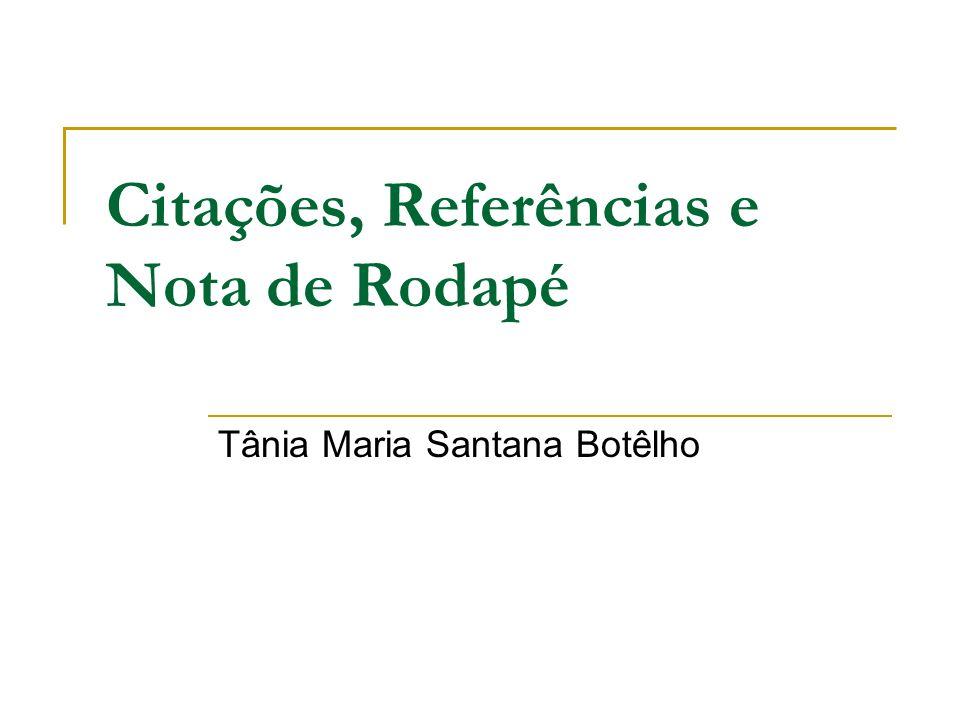 Citações, Referências e Nota de Rodapé