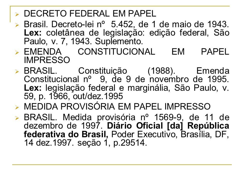 DECRETO FEDERAL EM PAPEL
