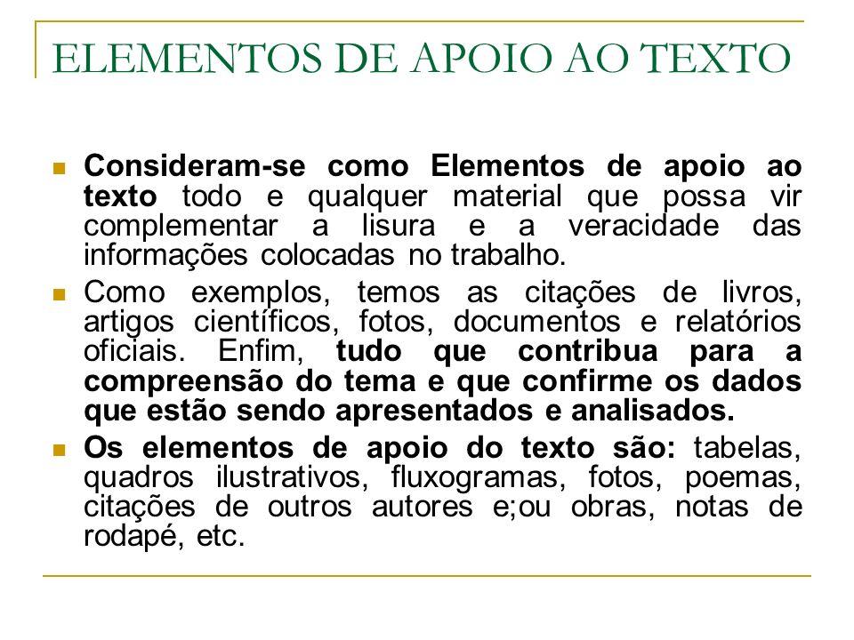 ELEMENTOS DE APOIO AO TEXTO
