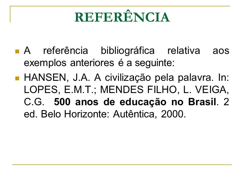 REFERÊNCIA A referência bibliográfica relativa aos exemplos anteriores é a seguinte: