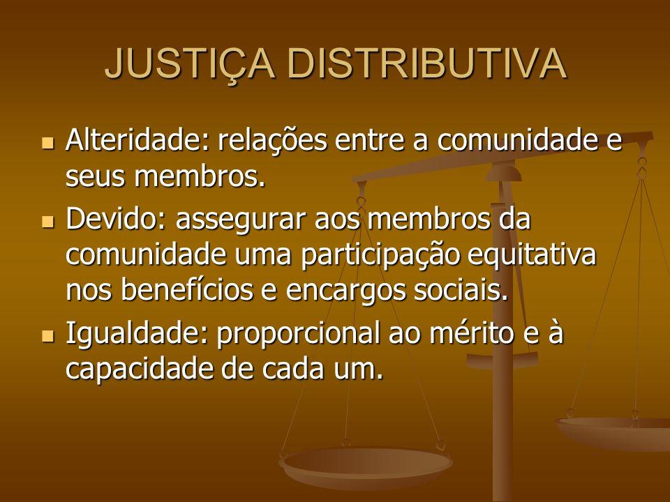 JUSTIÇA DISTRIBUTIVA Alteridade: relações entre a comunidade e seus membros.