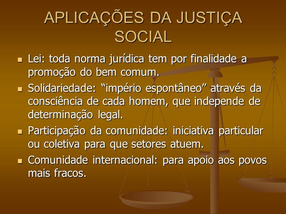 APLICAÇÕES DA JUSTIÇA SOCIAL