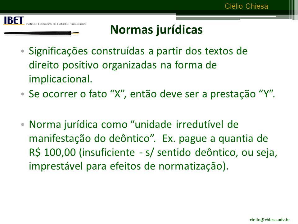 Normas jurídicas Significações construídas a partir dos textos de direito positivo organizadas na forma de implicacional.