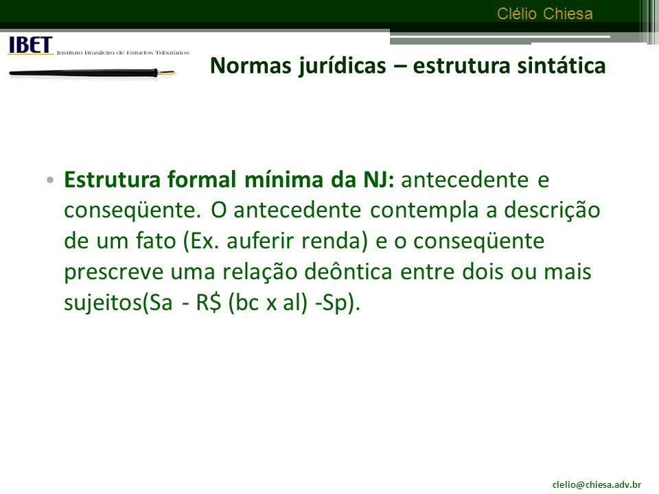 Normas jurídicas – estrutura sintática