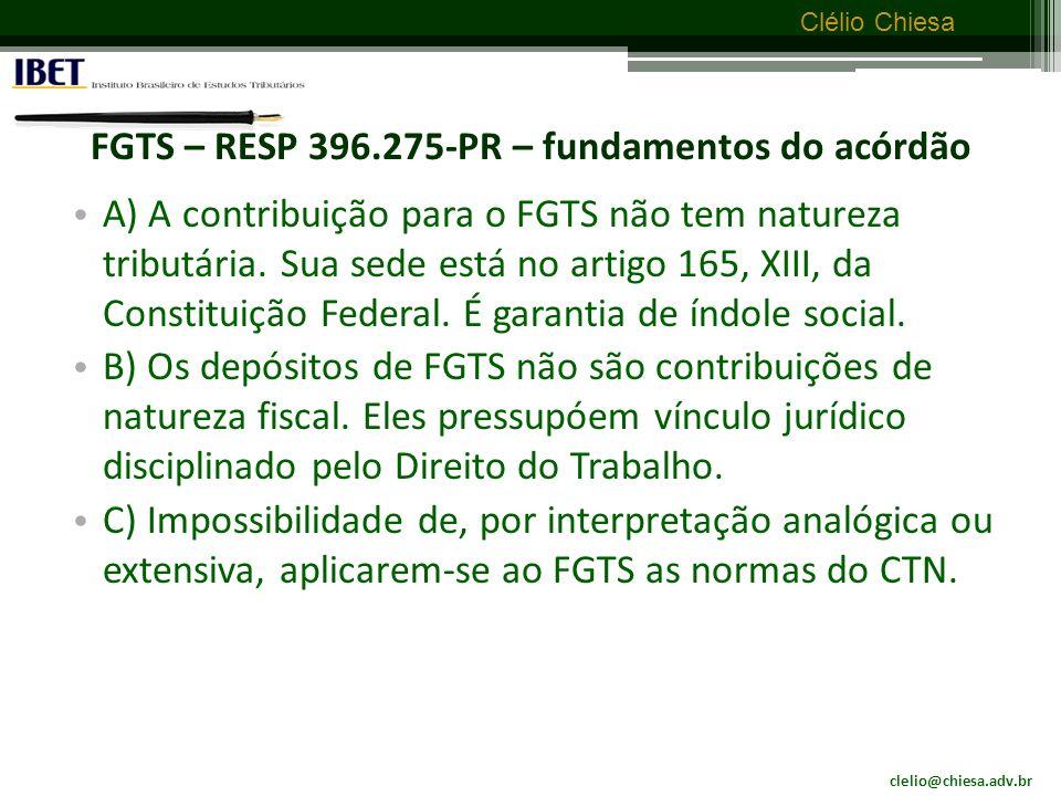 FGTS – RESP 396.275-PR – fundamentos do acórdão
