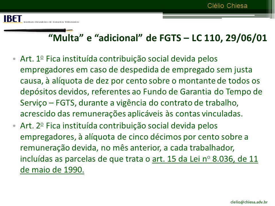Multa e adicional de FGTS – LC 110, 29/06/01