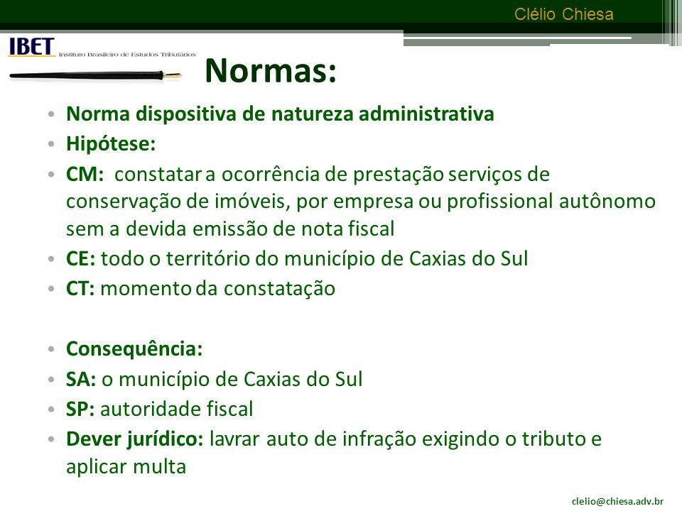 Normas: Norma dispositiva de natureza administrativa Hipótese: