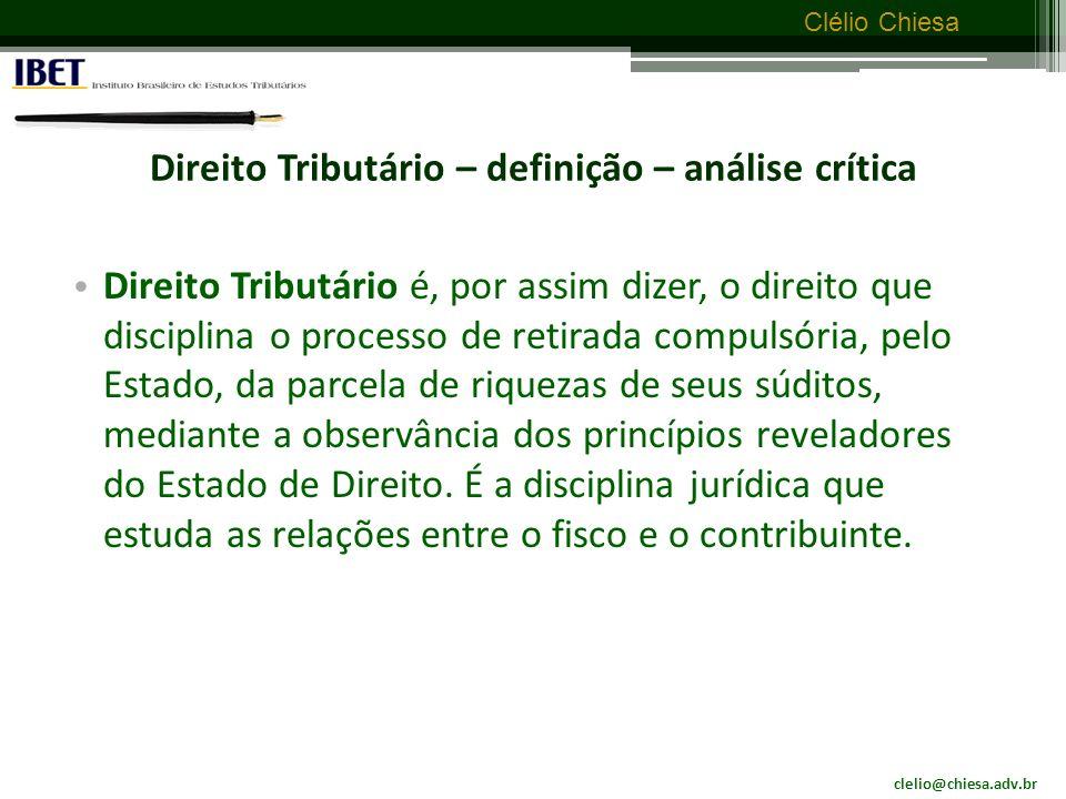 Direito Tributário – definição – análise crítica