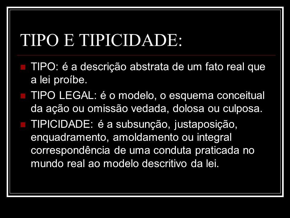 TIPO E TIPICIDADE: TIPO: é a descrição abstrata de um fato real que a lei proíbe.