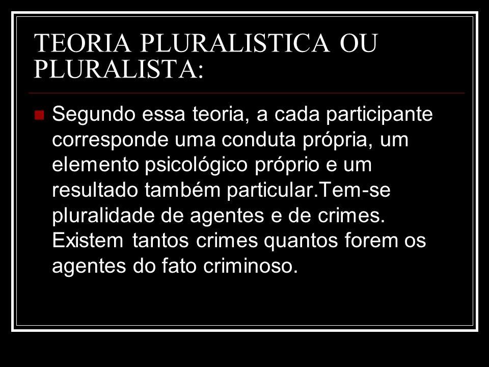 TEORIA PLURALISTICA OU PLURALISTA: