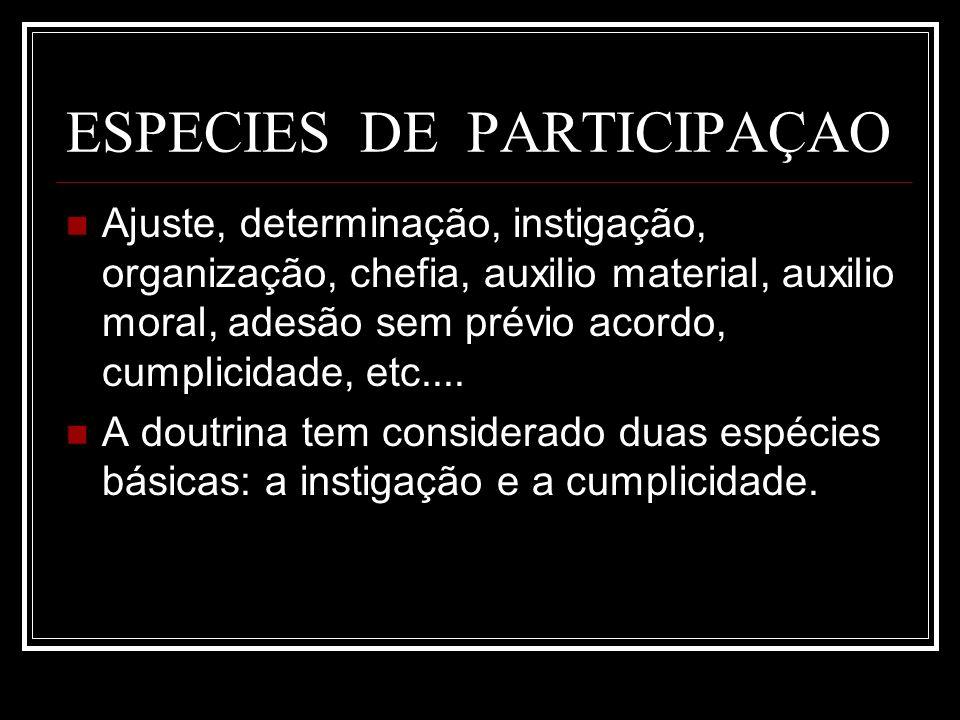 ESPECIES DE PARTICIPAÇAO