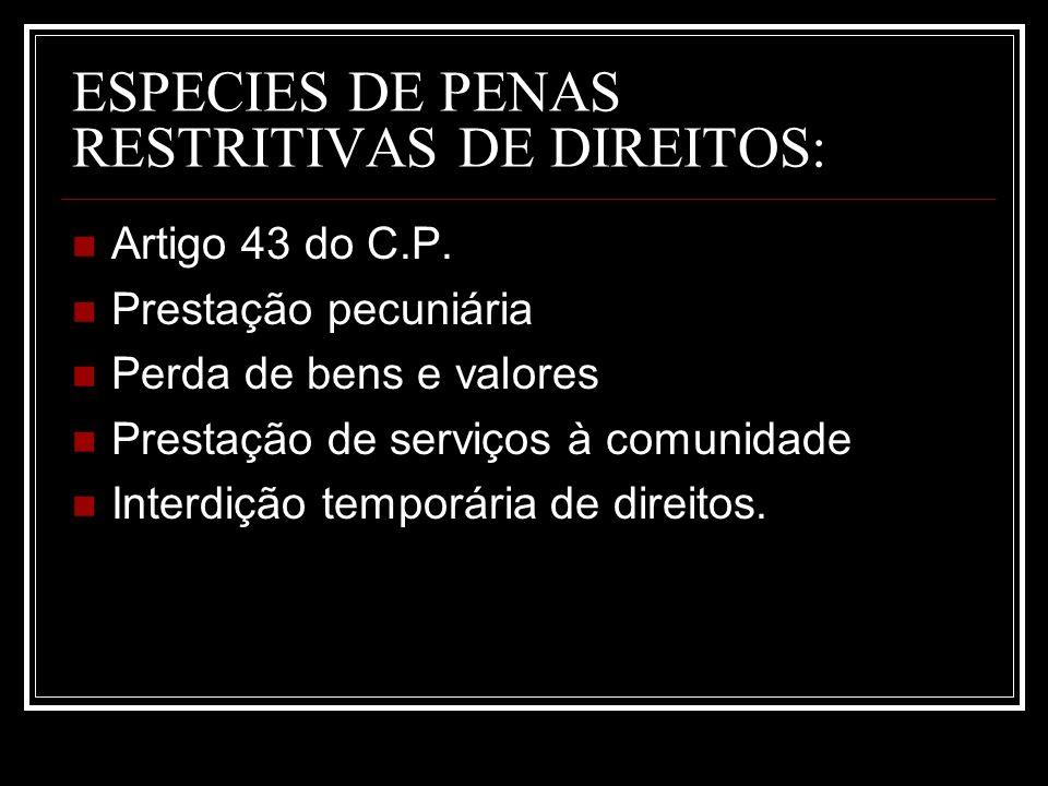 ESPECIES DE PENAS RESTRITIVAS DE DIREITOS: