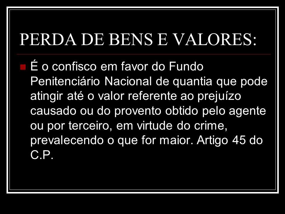 PERDA DE BENS E VALORES: