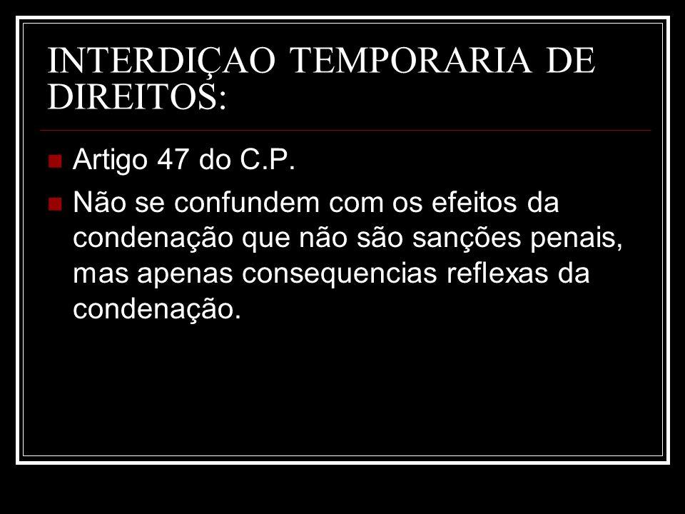 INTERDIÇAO TEMPORARIA DE DIREITOS: