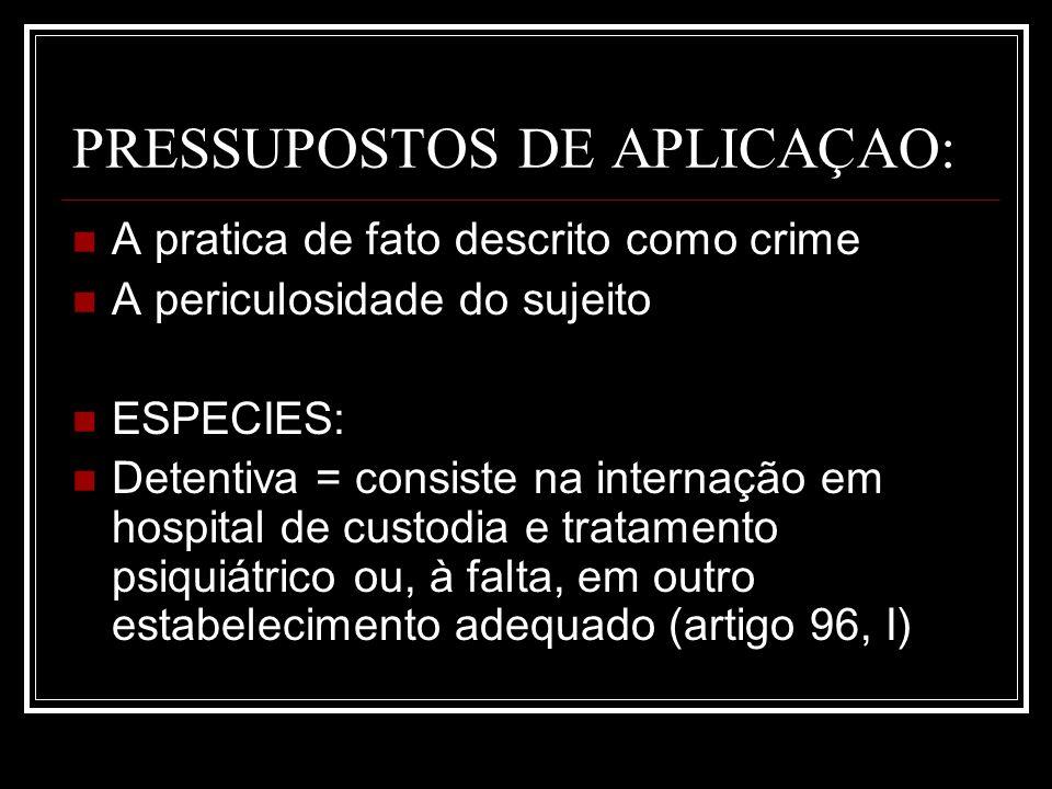 PRESSUPOSTOS DE APLICAÇAO: