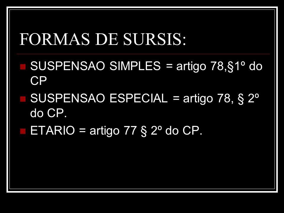 FORMAS DE SURSIS: SUSPENSAO SIMPLES = artigo 78,§1º do CP