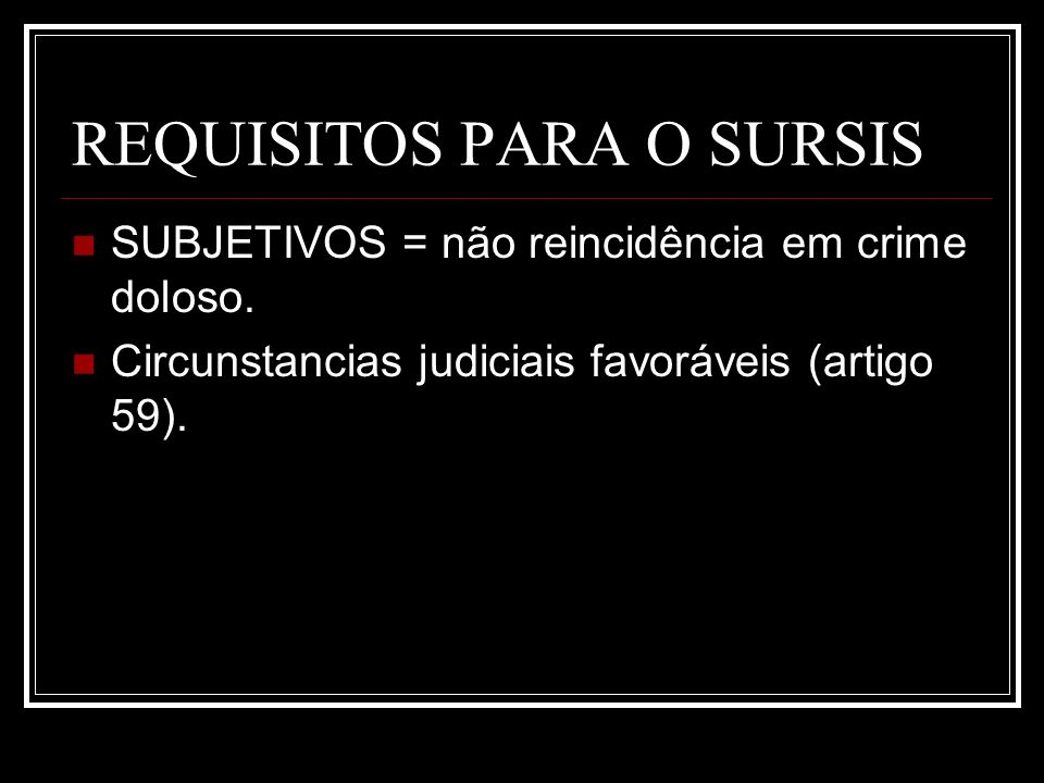 REQUISITOS PARA O SURSIS
