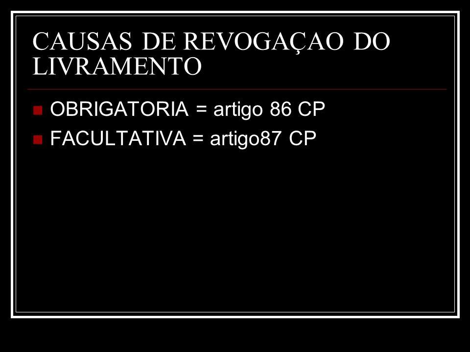 CAUSAS DE REVOGAÇAO DO LIVRAMENTO