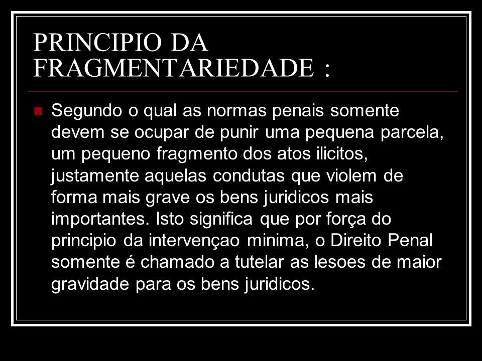 PRINCIPIO DA FRAGMENTARIEDADE :