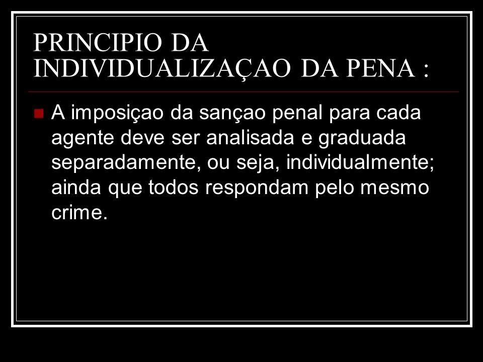 PRINCIPIO DA INDIVIDUALIZAÇAO DA PENA :