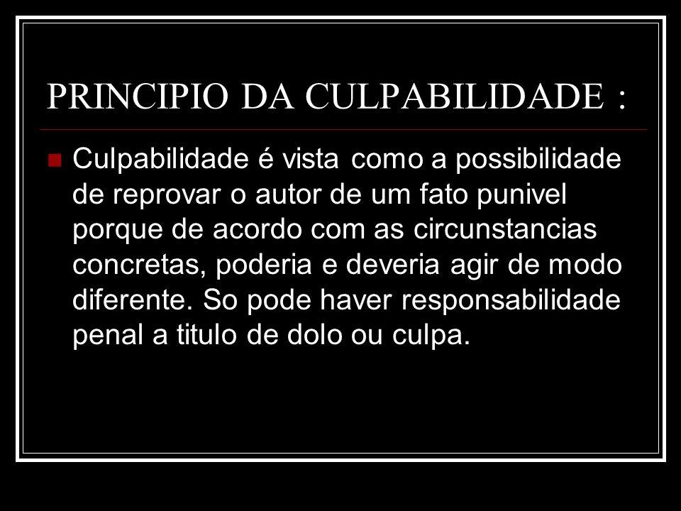 PRINCIPIO DA CULPABILIDADE :