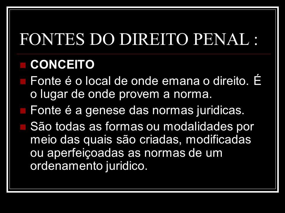 FONTES DO DIREITO PENAL :