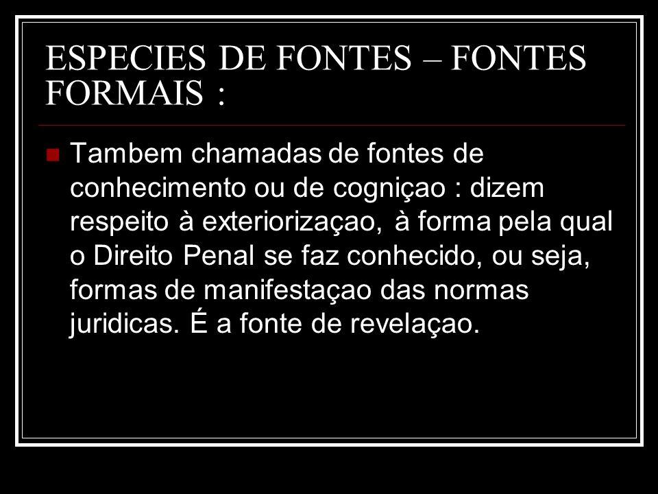 ESPECIES DE FONTES – FONTES FORMAIS :