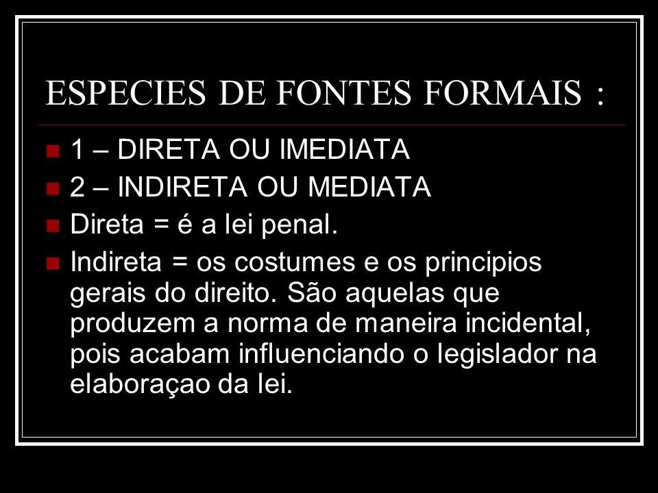 ESPECIES DE FONTES FORMAIS :