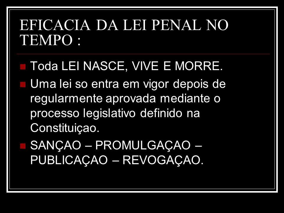 EFICACIA DA LEI PENAL NO TEMPO :