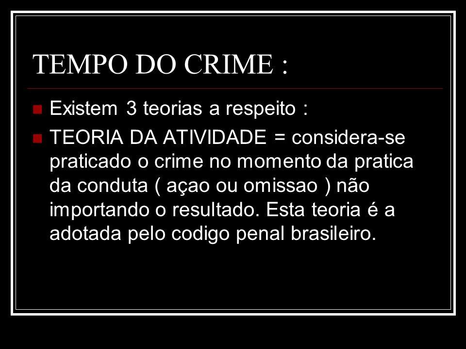 TEMPO DO CRIME : Existem 3 teorias a respeito :