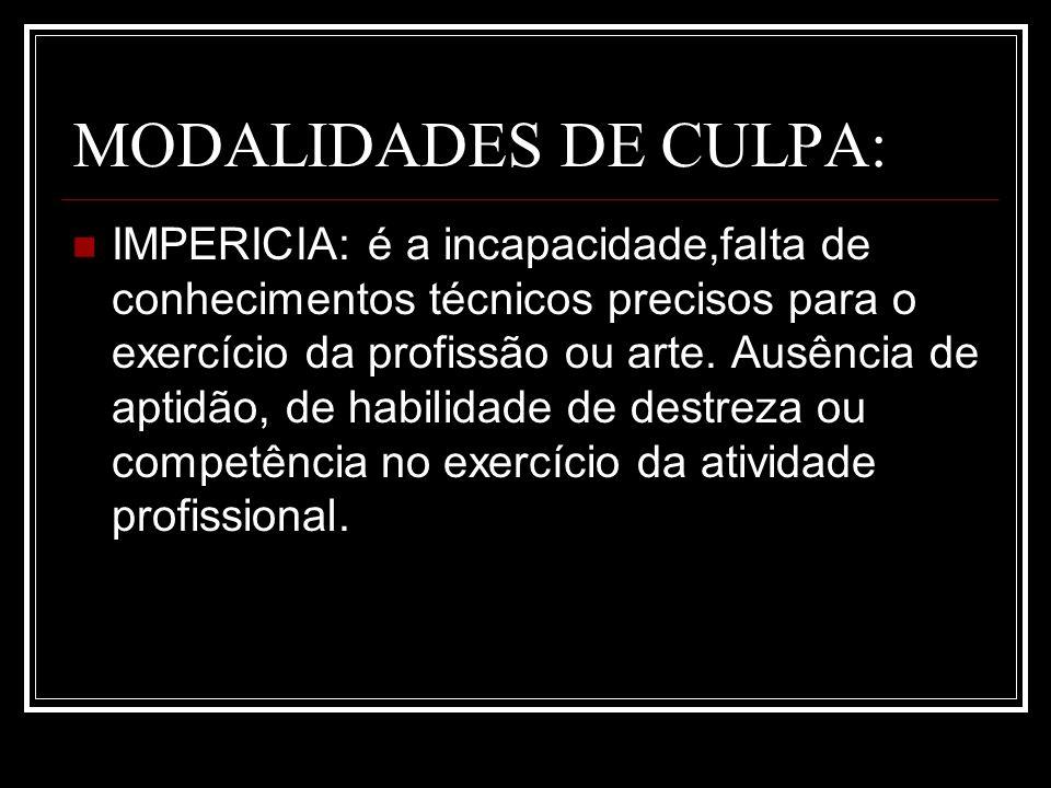 MODALIDADES DE CULPA: