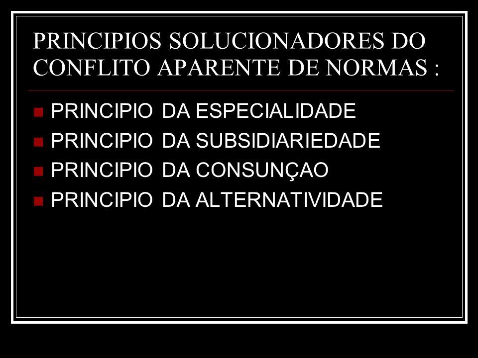 PRINCIPIOS SOLUCIONADORES DO CONFLITO APARENTE DE NORMAS :