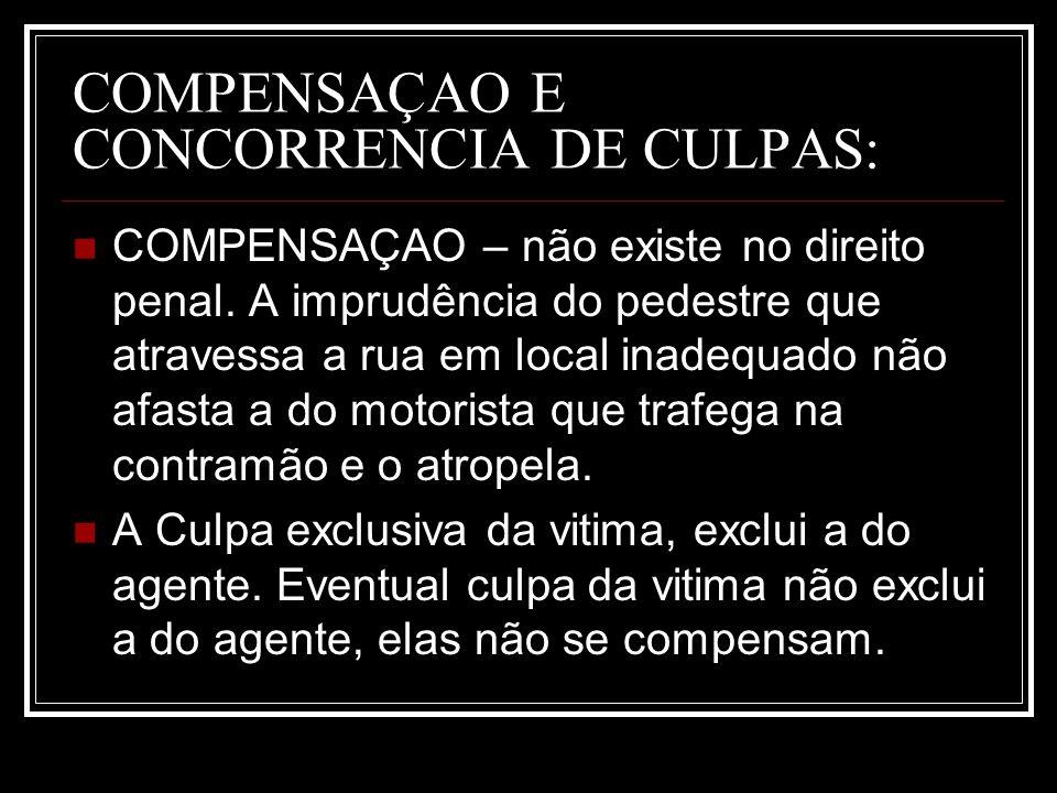 COMPENSAÇAO E CONCORRENCIA DE CULPAS: