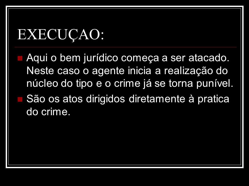 EXECUÇAO:Aqui o bem jurídico começa a ser atacado. Neste caso o agente inicia a realização do núcleo do tipo e o crime já se torna punível.