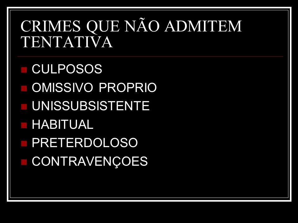 CRIMES QUE NÃO ADMITEM TENTATIVA