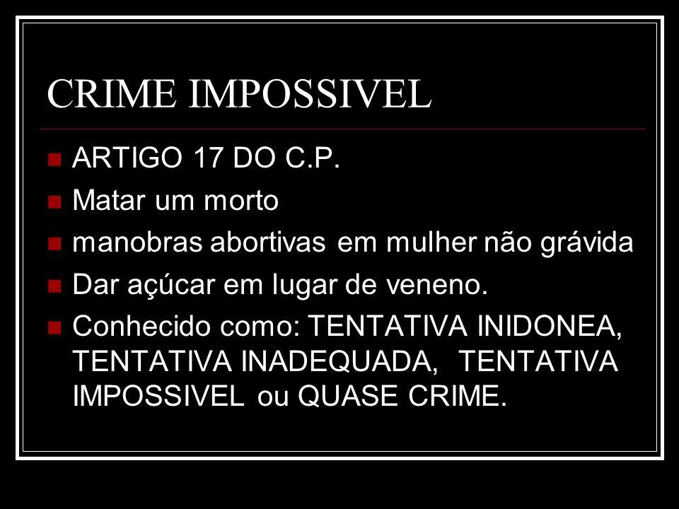 CRIME IMPOSSIVEL ARTIGO 17 DO C.P. Matar um morto