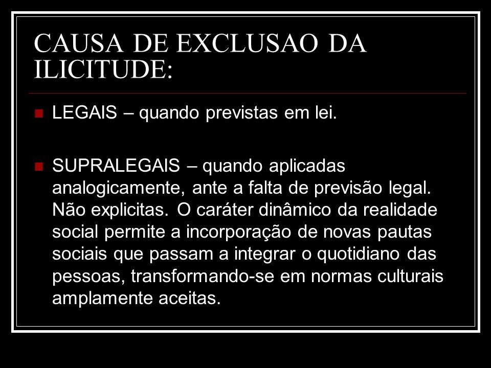 CAUSA DE EXCLUSAO DA ILICITUDE:
