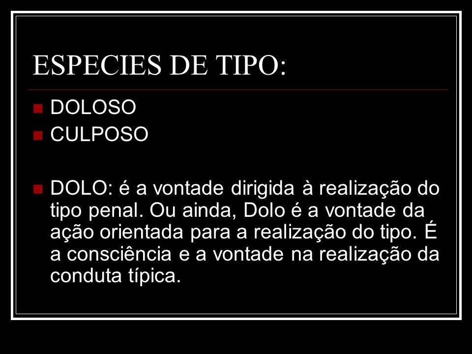 ESPECIES DE TIPO: DOLOSO CULPOSO