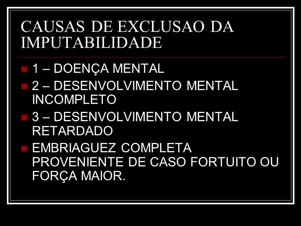 CAUSAS DE EXCLUSAO DA IMPUTABILIDADE
