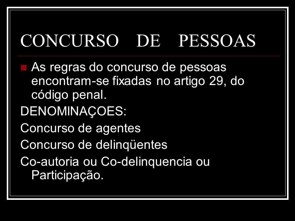 CONCURSO DE PESSOASAs regras do concurso de pessoas encontram-se fixadas no artigo 29, do código penal.
